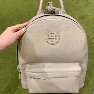 Tory Burch French gray leather backpack
